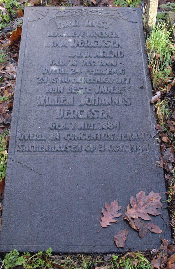 Dercksens gedenksteen op de Oude Begraafplaats Gouda (Foto: werkgroep Verzetshelden Oosterwei)